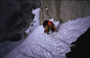 Forfatteren under klatring på nordvæggen af Aiguille du Midi