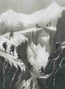Klassisk gengivelse af bjergbestigning på Mont Blanc i starten af 1800 tallet. Bemærk den kjoleklædte kvinde. Er det den første egentlige kvindelige bestiger af Mont Blanc?